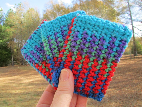 ECO TAWASHI crocheted acrylic scrubbie  eco friendly  set of three