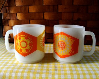 Vintage Coffee Cups Milk Glass Mugs Glasbake Yellow Orange Enamel Retro Mod 1970s