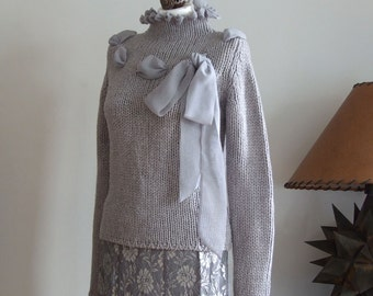 SALE 25% OFF Gray chunky sweater hand knitted turtleneck with chiffon ribbon and bow, warm & soft wool sweater, grey sweater, ready to ship