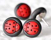 Ladybug Pushpins Red Polka Dot Garden Bug Thumbtacks in Black Polymer Clay Gift Set of 4 Fun for Summer