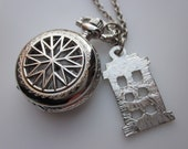 Doctor Who Tardis Inspired Pocketwatch Police Box Necklace