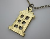 Tardis Necklace Inspired by Doctor Who in Antique Gold Finish