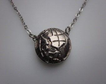 Travel Themed Globe Necklace in Silver Finish