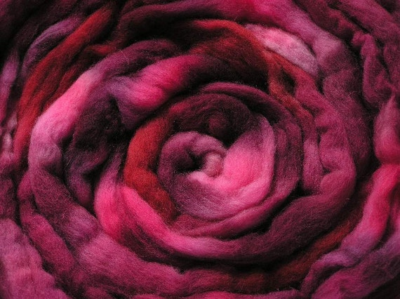 200g Space-dyed Falkland Wool Top - Red Red Wine