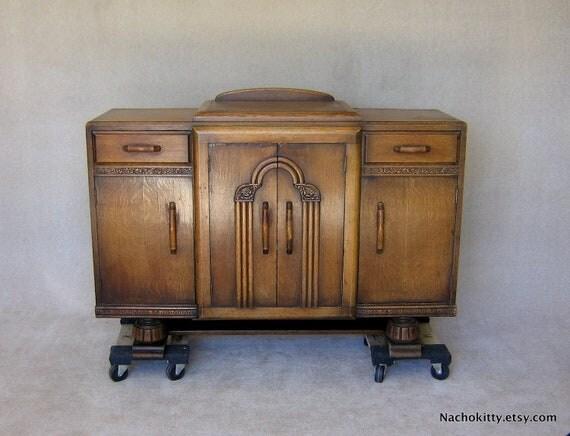 Reserved for Transcendingworks: Art Deco Sideboard Storage Cabinet 1920s English Footed Furniture