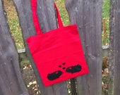 for Lovers- Shopping Bag with Guinea Pig Print in red/black