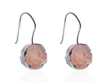 Rose Carved Pink Jade Earrings