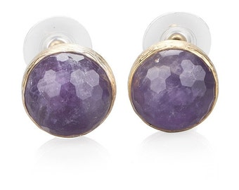 Amethyst Stud Earrings made with 925K sterling silver coated 18K gold, Lavender purple gemstone, Amethyst earring, big amethyst post earring