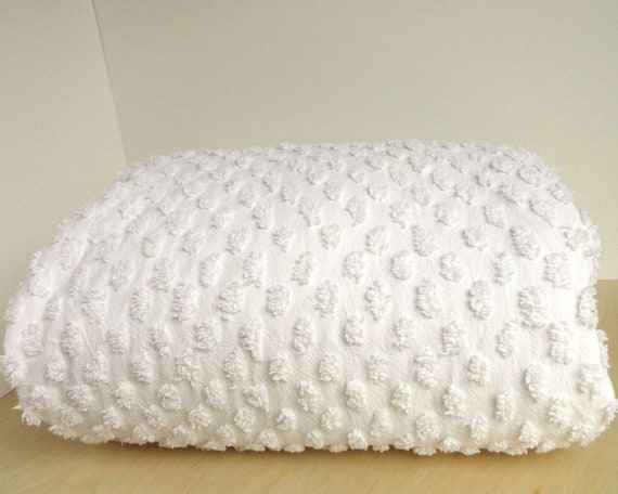 Chenille Duvet Comforter Cover White Cotton King Size Vintage