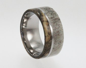 Mens Wedding Band  Titanium ring i nlaid with Buck Eye Burl Wood and