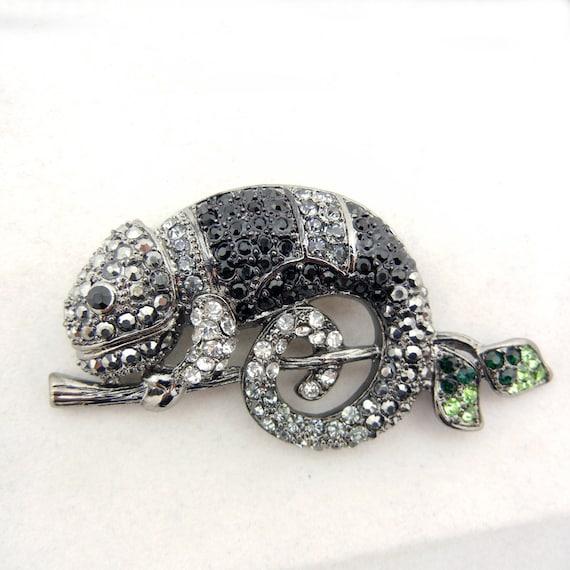Clear, Hematitie, Black, Green Rhinestone Hematite Chameleon Lizard Pendant