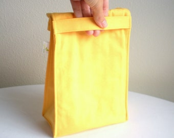 Insulated Eco Lunch Bag - Organic Cotton - Yellow - Back to School