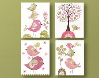 Baby Girl Nursery Art Print Children's art baby nursery decor kids wall art Girl's room decor Birds nursery tree Pink green -Set of 4 prints