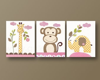 Jungle Nursery wall Art, Monkey Nursery, elephant, Giraffe Nursery Decor, Baby Girl nursery art, Kids room, Old Buddies, Set of 3 Prints