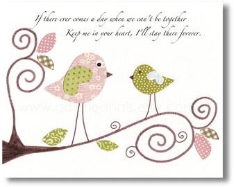 Nursery art prints - baby nursery decor - nursery wall art - Birds - art for kids - Keep me in your heart - Winnie The Pooh print