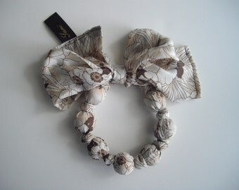 Brown and Cream Scarf Necklace Vintage Silk Handknotted Fashion Statement Accessory