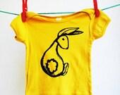 Bunny Shirt.   Infant.  Baby.  6 months.   Organic Shirt.  Harvest Yellow.  Sale.