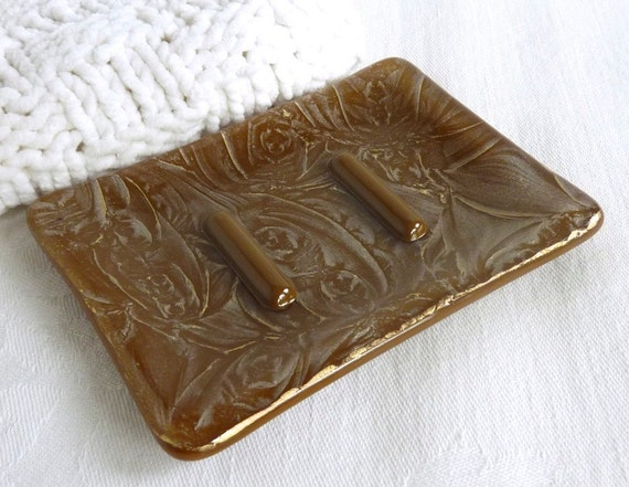 Brown and Gold Glass Soap Dish