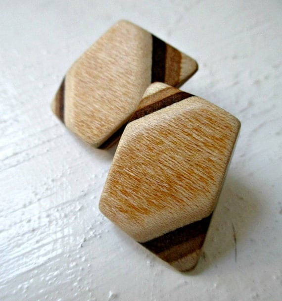 Vintage Wood Post Earrings