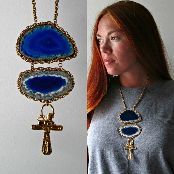 Kemet. An Agate Slice Geode Statement Necklace. Vintage Brass Egyptian Ankh