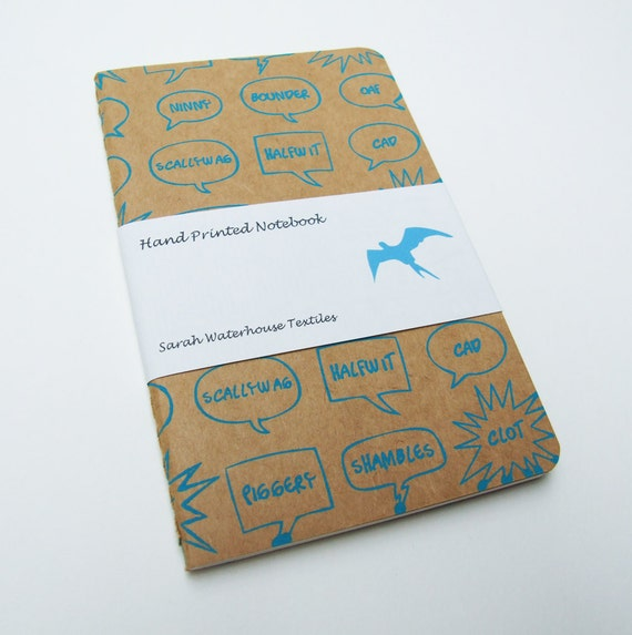 SALE Hand printed English Insults notebook in Teal Blue 30% off