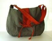 Sale - Grey Canvas Messenger bag, Handbag, School Bag, Diaper Bag, Tote, Crossbody, Laptop, Purse, Women - DIANA