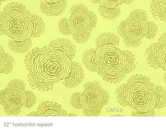 """Amy Butler Fabric 16"""" REMNANT Original Midwest Modern 06AB 33 'FLOATING BUDS' Sage"""