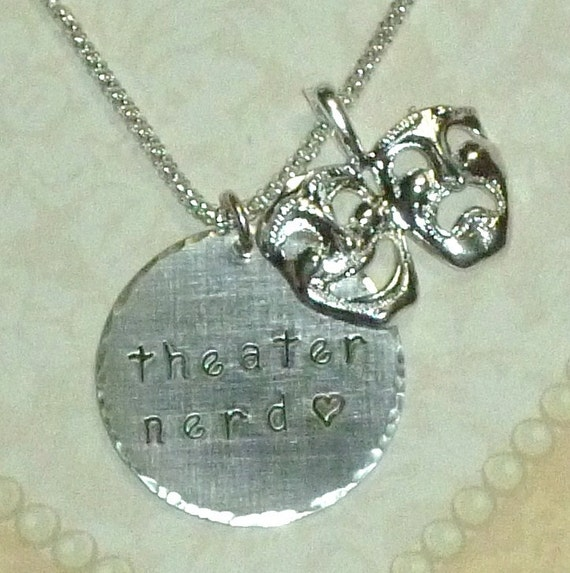 Theater Nerd Hand Stamped Sterling Silver Necklace - Large