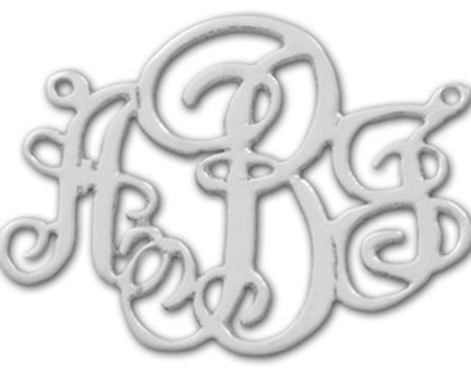 """Lace Monogram Necklace - Sterling Silver (1-1/4"""" - 3cm tall)"""