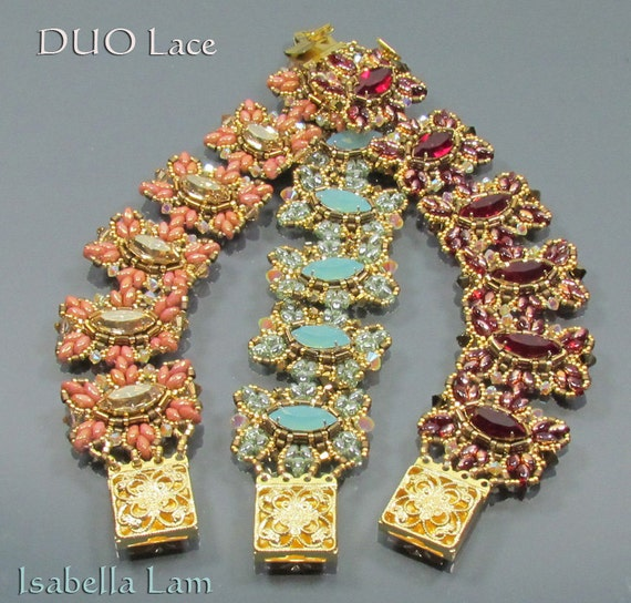 DUO Lace SuperDuo Beadwork Bracelet Pdf tutorial instructions for personal use only