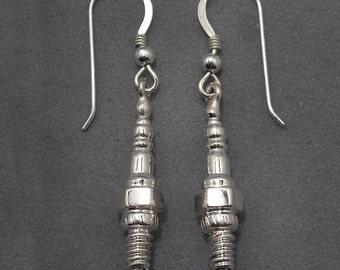 sparkplug earrings - dangle - sterling silver