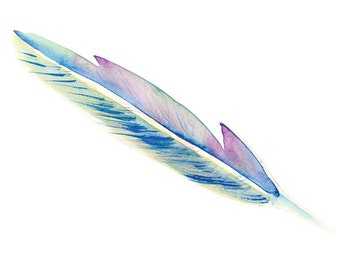 One Feather- Watercolour, Pen and Ink Illustrated, blank A5, 100% recycled Card with Envelope.