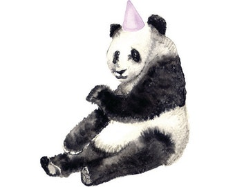 Panda  - Party Animal -  Watercolour, Pen and Ink illustrated blank A5 Card with Envelope