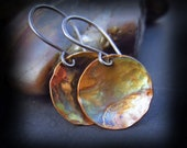 Copper Patina Earrings - Flame Patina Hammered Copper Earrings on Artisan Handmade Sterling Silver Wires - ARTIST