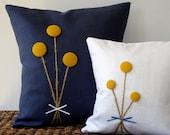 RESERVED - Yellow Billy Ball Flower Pillow in Navy Blue Linen by JillianReneDecor Billy Button Craspedia Bouquet Botanical Home Decor