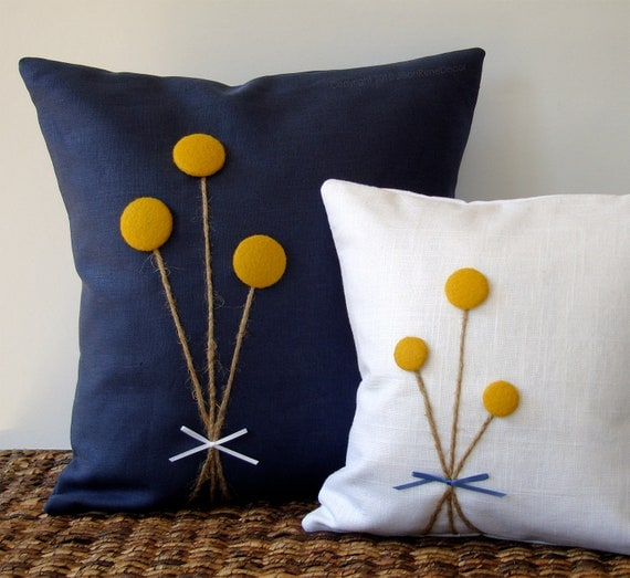 RESERVED - Yellow Billy Ball Flower Pillow in Navy Blue Linen by JillianReneDecor Billy Button Craspedia Bouquet Botanical Home Decor
