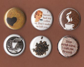 Coffee Lovers MAGNETS set of 6