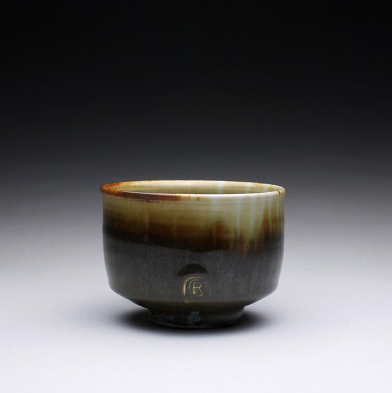 porcelain tea bowl - chawan with olive brown and blue green celadon glazes