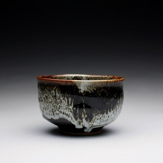 matcha chawan - tea bowl - stoneware bowl with black tenmoku and white glazes glazes