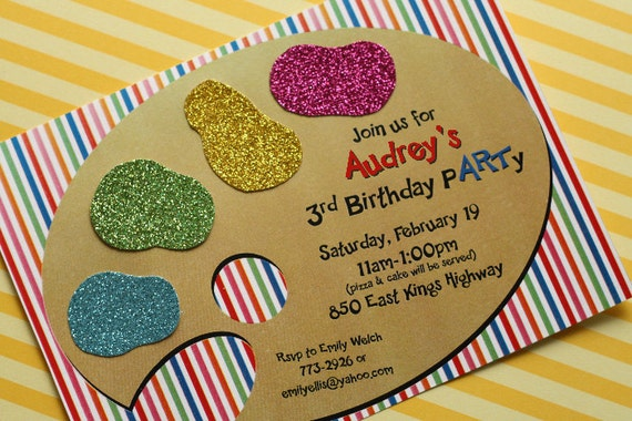 Items similar to Art pARTy Printable Invitation As Seen On – Art Party Invitation