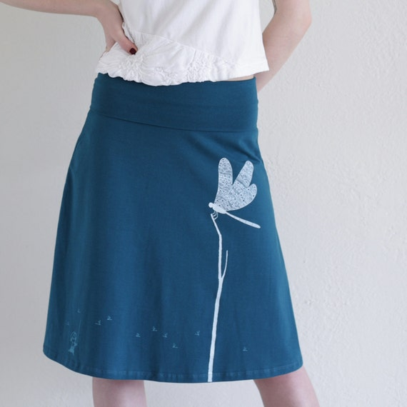Free domestic shipping - Summer cotton skirt . Womens Knee Length Skirts .Teal Blue A-line skirt - Catching the Dragonfly - size Medium