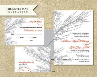 The Silver Pine Invitation Set - Thermography/Foil Printing Available!