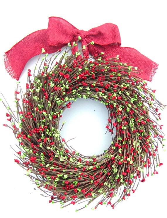 Red and Green pip berries  -  Berry Wreath - Christmas decor for your holiday home