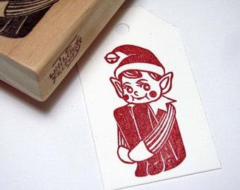 Elf Hand Carved Stamp, Red-Cheeked Knee Hugger Elf, Christmas Stamp