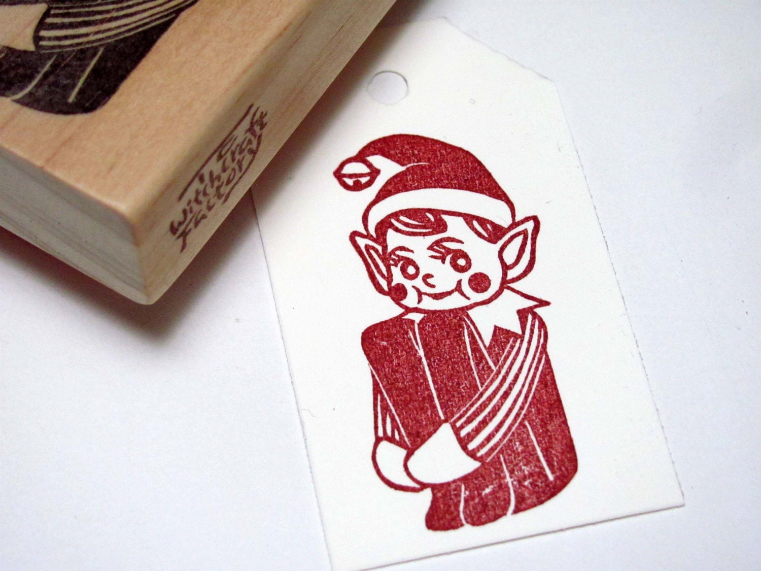 Elf hand carved stamp red cheeked knee hugger christmas