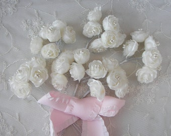 18pc Chic Cream Ivory Satin Ribbon Wired Cabbage Rose Flower w Pearl Applique Bridal Wedding Favor Bow