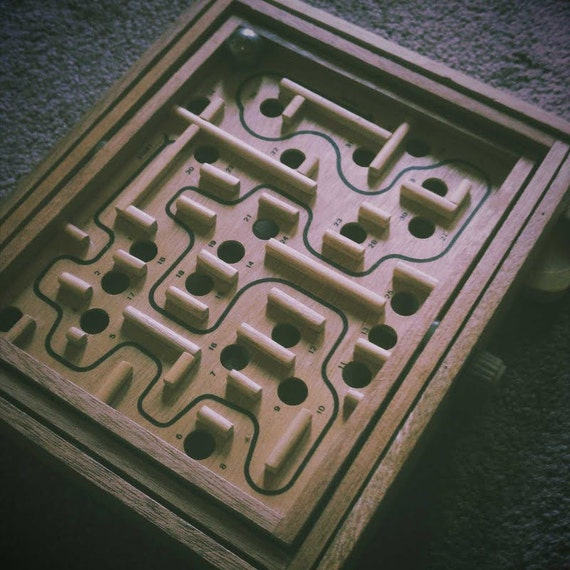 Marble Maze Labyrinth Old Time Wooden Game By Caitlinmagnolia