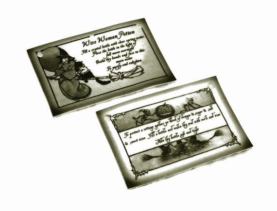 SPELL charms 2pc ..... wise woman and cottage protection ..... handmade supplies