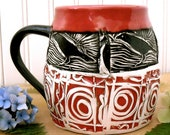Large Pottery Tribal Raven Coffee Mug - HandMade Red, White & Black Crow Bird Wheel Thrown Ceramic Tea Cup - Stamped Linocut Corvid Art