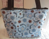 Floral Blue and Brown Daisy Polka dots Purse Tote Diaper Bag CUSTOM MADE to ORDER Choose your Size
